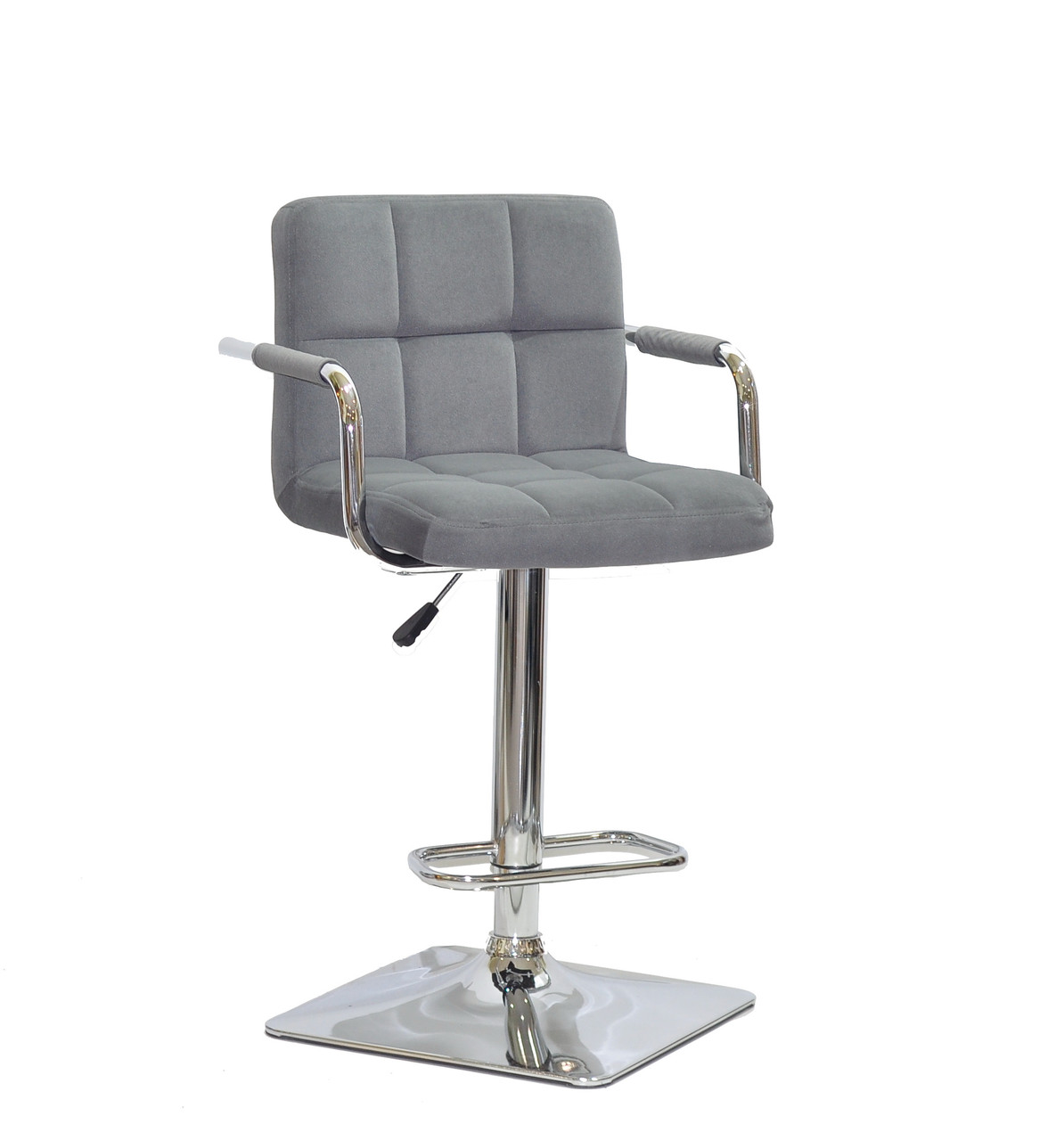 Барный стул Арно серый бархат с подлокотниками на квадратной хром базе ARNO BAR 4CH - BASE