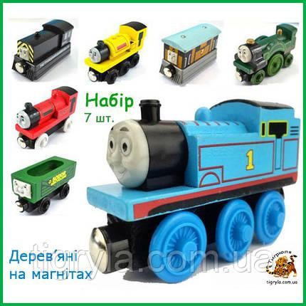 Томас і його друзі Іграшки набір дерев'яних паровозиків і вагончиків на магнітах, фото 2
