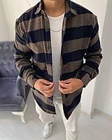 Рубашка мужская байковая в клетку коричневая. Мужская рубашка клетка байковая.