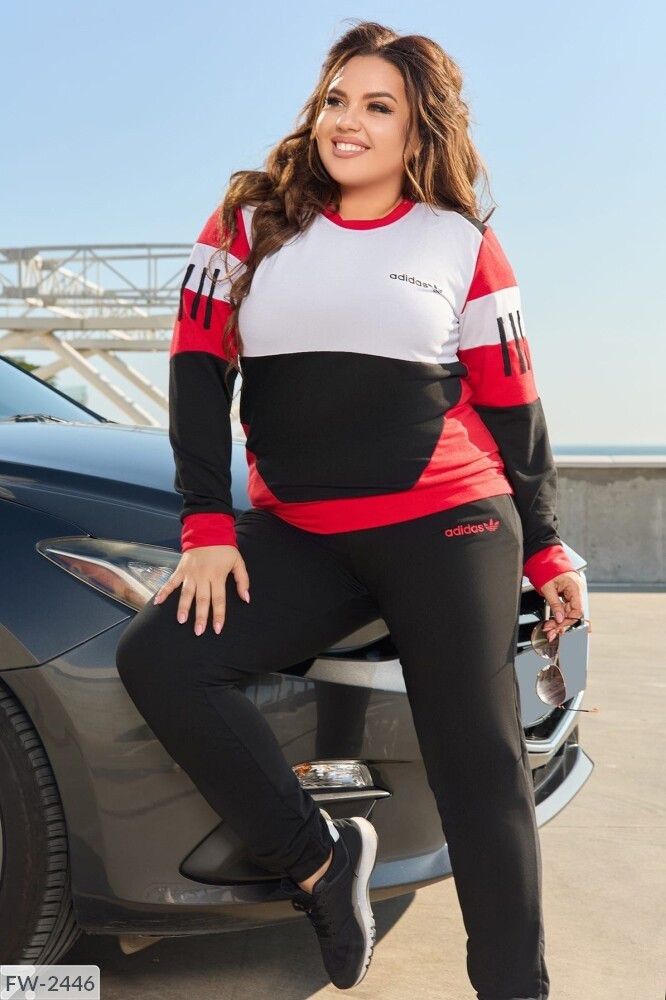 Спортивний костюм жіночий з логотипом (Батал)