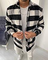 Рубашка мужская байковая в клетку серая с черным. Мужская рубашка клетка байковая.