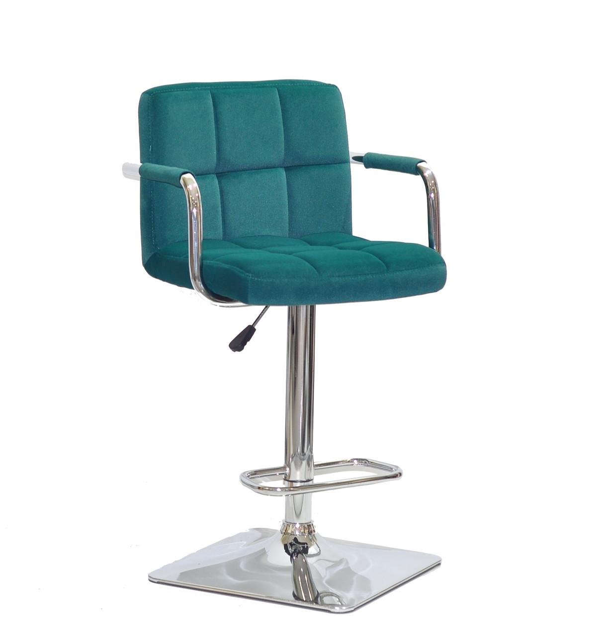 Барный стул Арно зеленый бархат с подлокотниками на квадратной хром базе ARNO BAR 4CH - BASE