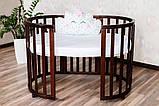 Детская кроватка-трансформер круглая овальная деревянная Angelo темный орех 2 положения по высоте маятник, фото 2