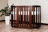 Детская кроватка-трансформер круглая овальная деревянная Angelo темный орех 2 положения по высоте маятник, фото 3
