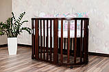Детская кроватка-трансформер круглая овальная деревянная Angelo темный орех 2 положения по высоте маятник, фото 4