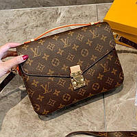 Жіноча шкіряна сумка крос боді Louis Vuitton Pochette Metis Brown | Клатч Луї Вітон Почетте Метис Коричневий