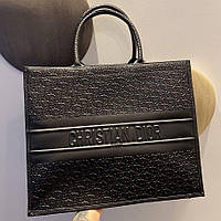 Жіноча шкіряна сумка Dior Book Tote Black | Діор Бук Той Чорна