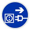 Предписывающий знак безопасности «Отключить штепсельную вилку».