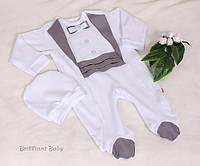 """Комбинезон для новорожденного """"Фрак""""  серебро, фото 1"""