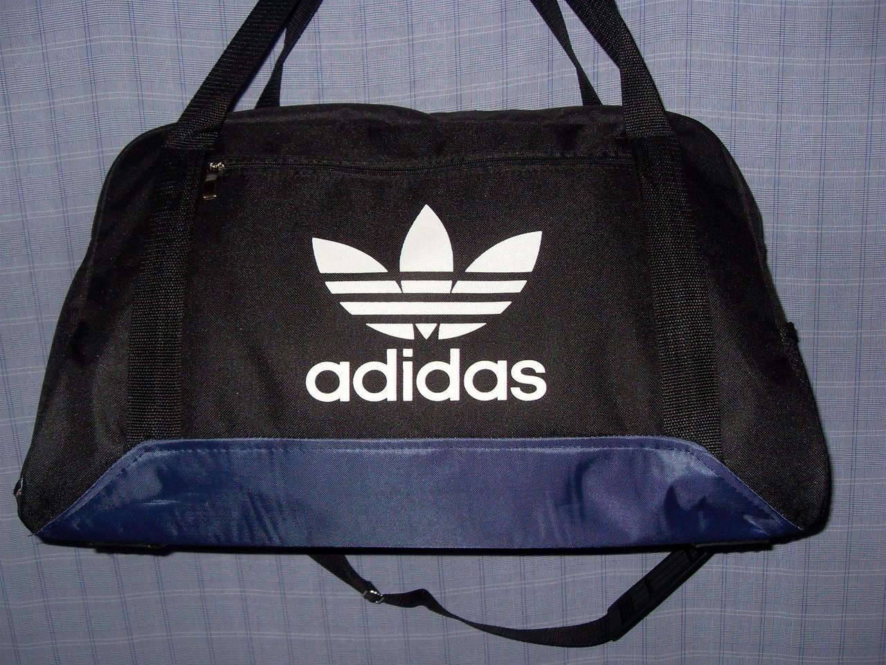 4a69d5040cab Багажная сумка Adidas 013676 большая (55х33х22, см) черная с синим спортивная  копия текстиль