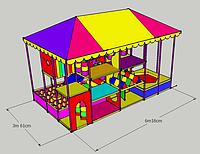 """Детский игровой 3х уровневый лабиринт """"Панда"""" 6,2м х 3,6м х 4,5м"""