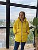 Жіночий жовтий зимовий пуховик з капюшоном, фото 4