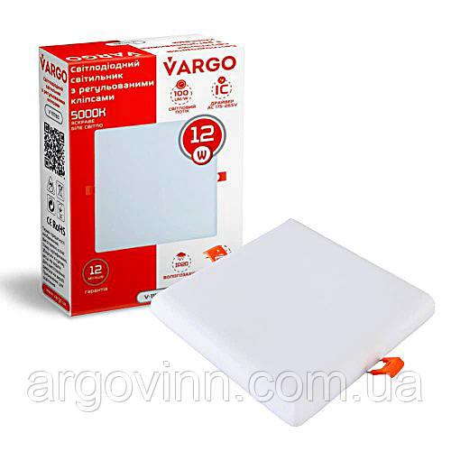 Свiтлодiодний свiтильник VARGO  квадрат, потужність 12W, 175-265V з регульованими кліпсами (111780)