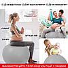 М'яч для фітнесу PowerPlay 4001 65см Сірий + насос, фото 4
