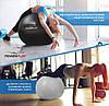 М'яч для фітнесу PowerPlay 4001 65см Сірий + насос, фото 9