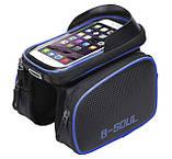 Велосипедна сумка B-Soul з відділенням для телефону на раму Blue, фото 2