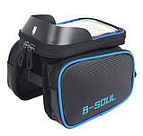 Велосипедна сумка B-Soul з відділенням для телефону на раму Blue, фото 4
