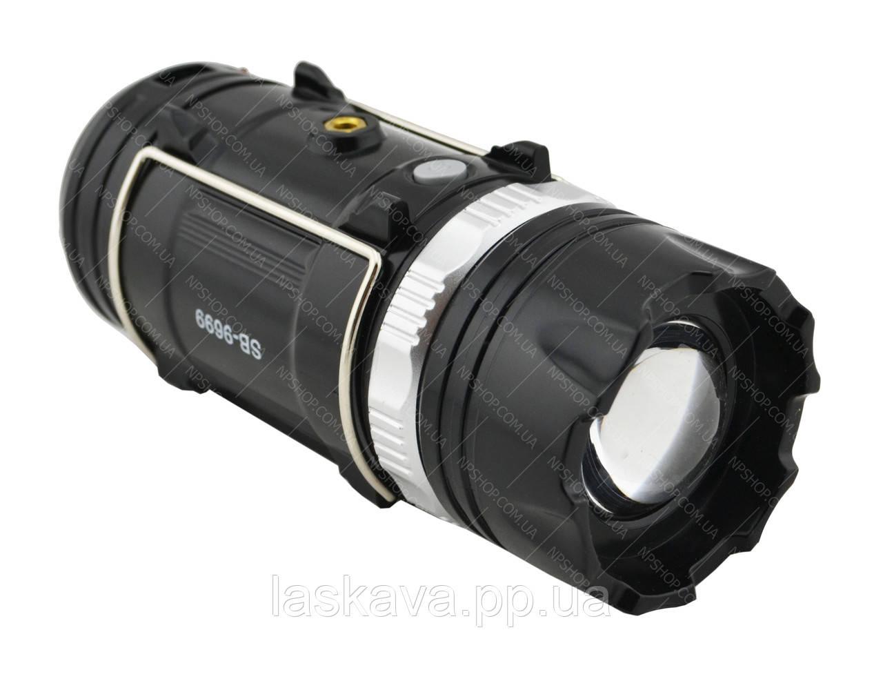 Акумуляторна кемпінговий LED лампа Sheng Ba SB 9699 c ліхтариком і сонячною панеллю Black (3625)