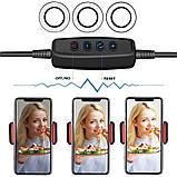 Держатель для телефона с LED подсветкой на прищепке для прямых трансляций селфи кольцо Black (5504) Siamo, фото 3