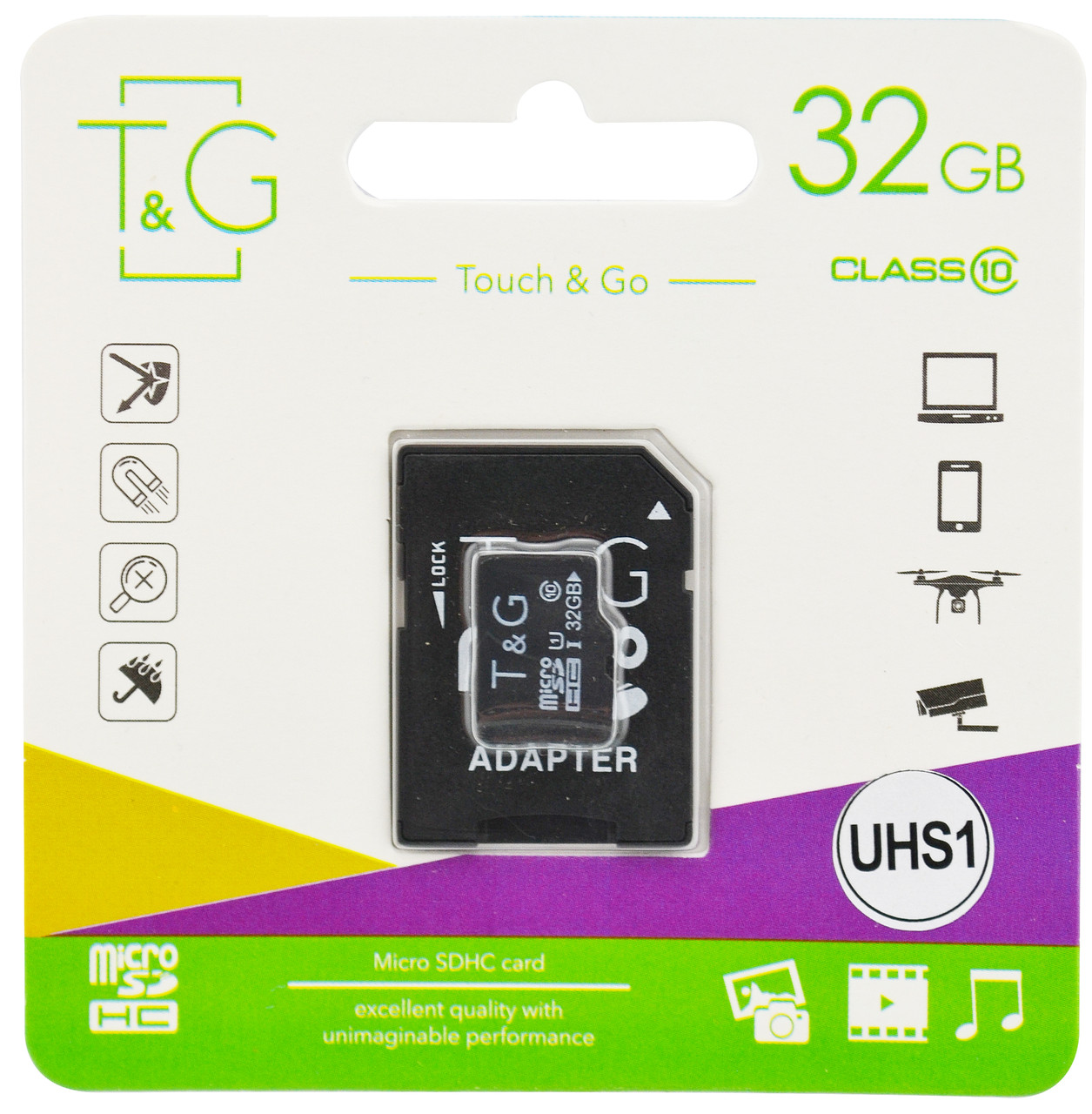 Карта пам'яті T&G microSD HC Ultra UHS-I 32GB Class 10 + SD adapter (5559)