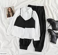Жіночий костюм трійка (Штани+Сорочка+укорочений Жилет), фото 1