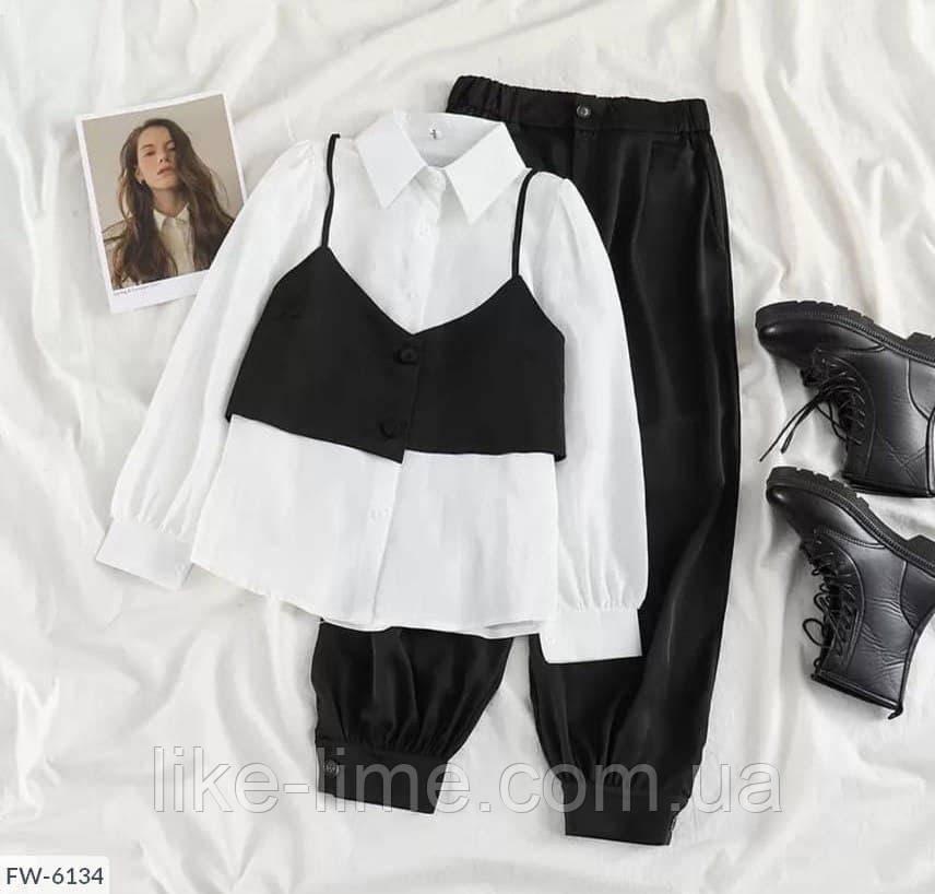 Жіночий костюм трійка (Штани+Сорочка+укорочений Жилет)