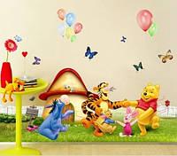 Наклейка виниловая Винни Пух и друзья у хижины 3D декор