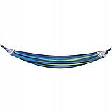 Мексиканский гамак хлопок с упорными планками 240 x 80 см + чехол Синий (14941) Siamo, фото 2