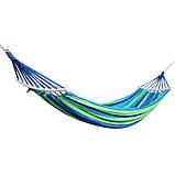 Мексиканский гамак хлопок с упорными планками 240 x 80 см + чехол Синий (14941) Siamo, фото 8
