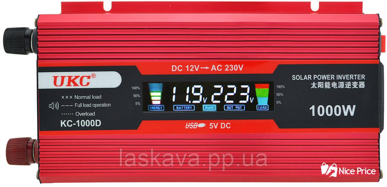 Преобразователь UKC авто инвертор 12V-220V 1000W LCD KC-1000D + USB Red (2812) Siamo