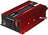Перетворювач UKC авто інвертор 12В-220В 500W LCD KC-500D + USB Red (3738), фото 4