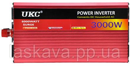 Преобразователь авто инвертор UKC 24V-220V AR 3000W c функцией плавного пуска + USB (4821) Siamo