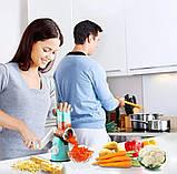 Ручная овощерезка-терка с насадками Kitchen Master 5140 Blue (5333) Siamo, фото 6