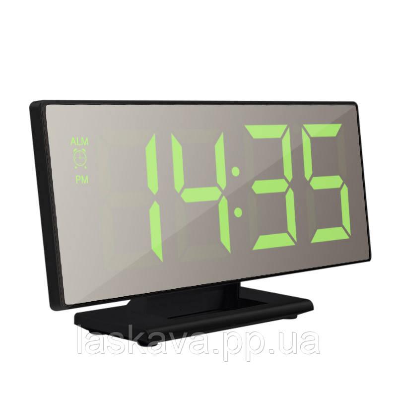 Электронные LED часы с будильником и термометром UKC DS-3618L Black (зеленная подсветка) (5096) Siamo