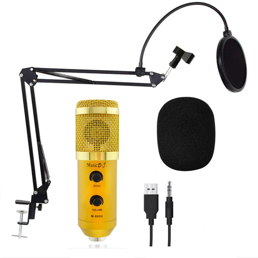 Студийный микрофон Music D.J. M800U со стойкой и поп-фильтром Gold Siamo