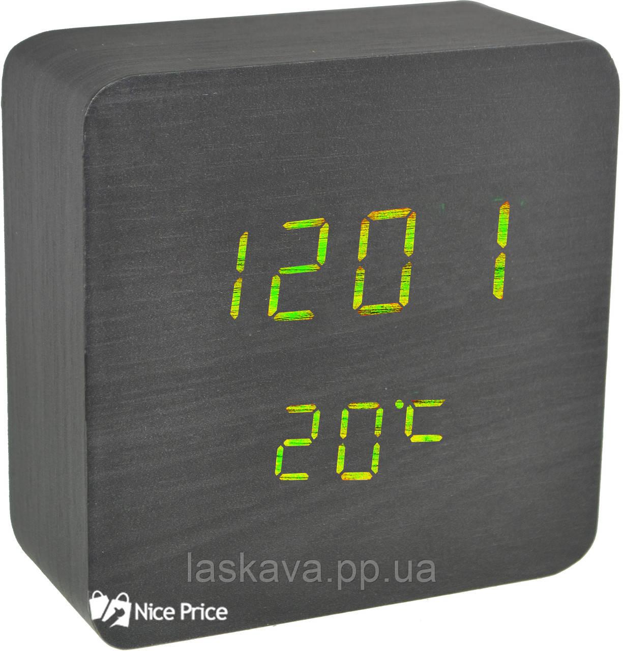 Часы VST 872 черное дерево (зеленая подсветка) (6995) Siamo