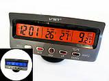 Годинник автомобільні VST 7045V з індикацією заряду АКБ (з вольтметром), і двома термо датчиками (3802), фото 4