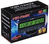 Годинник автомобільні VST 7045V з індикацією заряду АКБ (з вольтметром), і двома термо датчиками (3802), фото 7