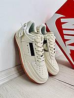Женские повседневные кроссовки Nike Air Force 1 Type Light Ivory Brown бежевые Найк Эир Форс