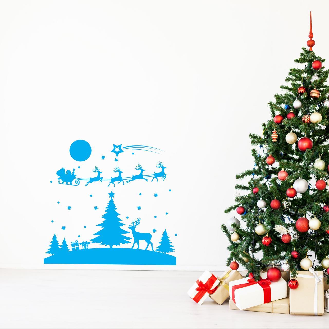 Наклейка Казкова ніч 800х750 мм (блакитний) Новорічна вінілова наклейка ( новий рік 2021, наклейки,