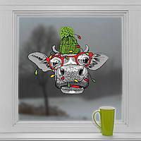 Наклейка Бик з гірляндою 500*415 мм Новорічна вінілова наклейка ( новий рік 2021, наклейки, прикраса будинку,, фото 1