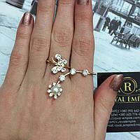 """Большое кольцо """"Анна"""" на два пальца, размер регулируется."""