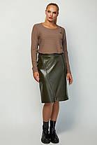 Черная женская юбка-карандаш из эко кожи с декором Размеры 46-56, фото 2