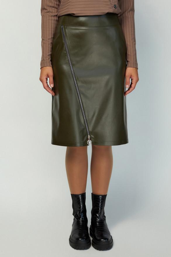 Черная женская юбка-карандаш из эко кожи с декором Размеры 46-56