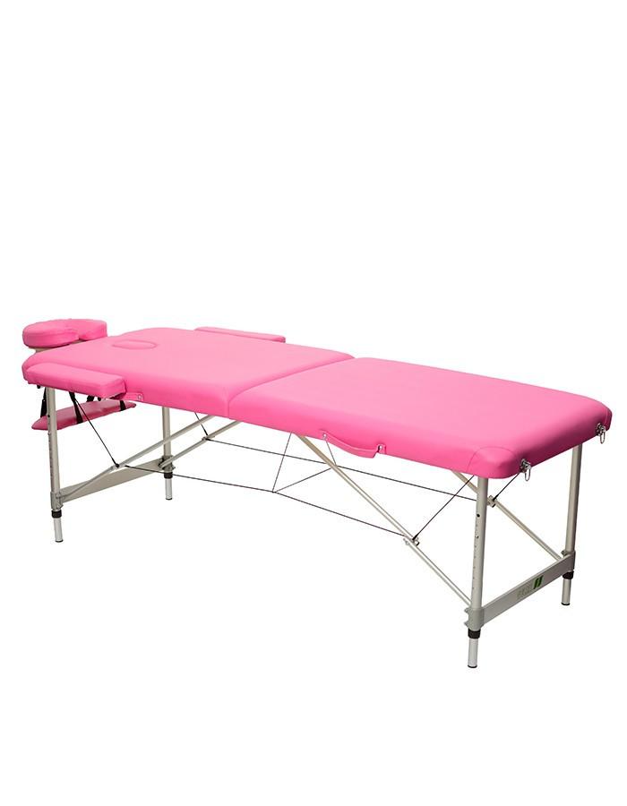 Масажний стіл 2-х секційний (алюмін. профілю. рама) рожевий HY-2010-1.3