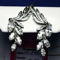 Серебряные серьги с фианитом Гроздья 2960б