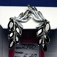 Серебряные серьги с черным фианитом Гроздья 2960ч