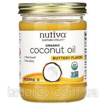 Nutiva, Органическое кокосовое масло, с ароматом сливочного масла, 414 мл