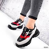Кроссовки женские Berna черные + серый + белый + красный 3328, фото 2
