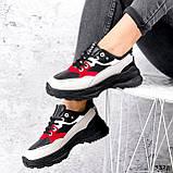 Кроссовки женские Berna черные + серый + белый + красный 3328, фото 4